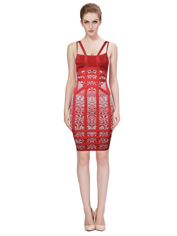 Herve Leger Red Yellow Blue And Grey Multi Color Straps Dress