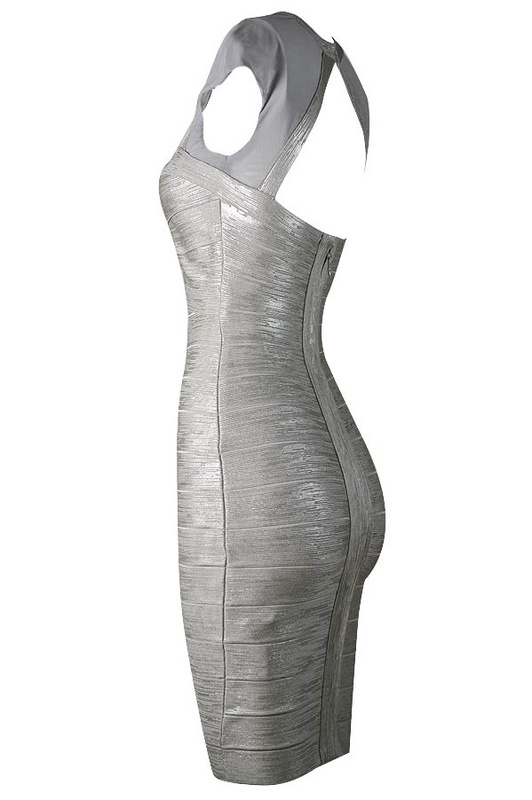 Herve Leger Silver And Black Multi Color Square Neck Dress