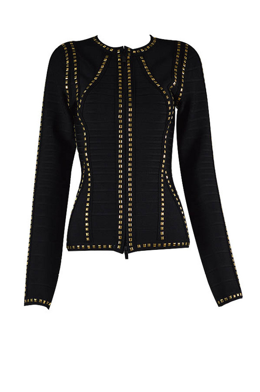 Herve Leger Stud Black Round Neck Long Sleeved Bandage Jacket