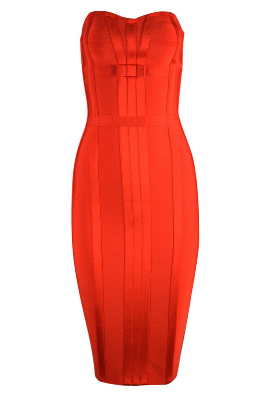 Jennifer Lopez Dress Herve Leger Red Sleeveless Strapless Bandage Dress