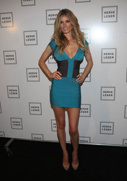 Marisa Miller Dress Herve Leger V Neck Colorblock Bandage Dress