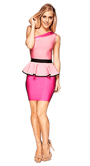 HERVE LEGER PINK DRESS